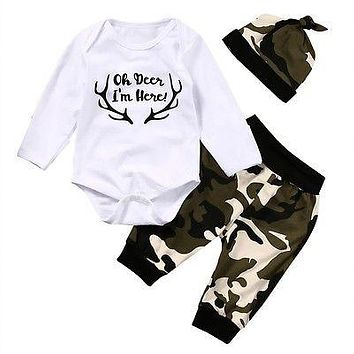Baby Boys clothing sets Cute born Kids Baby Boys Clothes Romper Tops Camouflage Pants Hat Outfits
