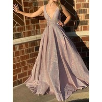 Sparkly V Neck Back Long Prom Dress Cocktail Evening Formal Dresses