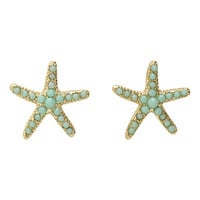 LOVEsick Gold And Turquoise Tone Starfish Earrings