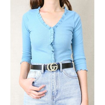 Metal Buckle Thin Faux Leather Belt in More Colors