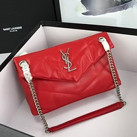 YSL SAINT LAURENT WOMEN'S LEATHER LOULOU PUFFER CHAIN SHOULDER BAG