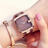 Square Fashion Luxury Ladies Bracelet Watches For Women Leather Strap Clock