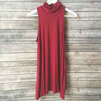 Staple Mock Neck Dress (Burgundy)