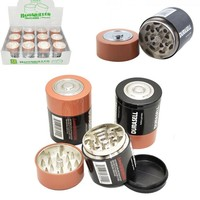 3parts Herb Grinder Weed Tobacco Smoke Water Pipe Glass Pipe Battery Shape