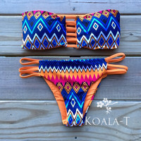 Reversible Strap Back Orange Tribal Print Bandeau Brazilian Cut Bikini