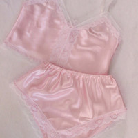 Camisole and Knicker Lingerie Sleep Set Boudoir (3 colours) Pastel Satin and White lace