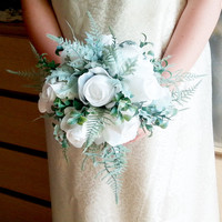 White fabric roses dusty miller frosted fern flowers wedding BOUQUET satin Handle, greenery bride, custom