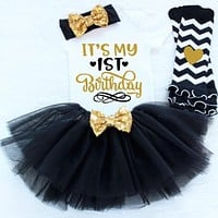 New Infant Baby Girl Clothing Set Sequin Newborn Dress (Tops+Headband+Dress) 3pcs Clothes Bebes First Birthday Costumes