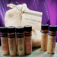 NATIVE SPIRIT OILS Set - Herbal Remedies For Energy Sleep Anxiety Headache & Sinus - Essential Oils w/ Burlap Medicine Bag