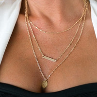 Bar and Pendant Layered Necklace