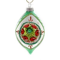 Shiny Brite HS ROUNDS & TULIPS W/REFLECTOR. Christmas Ornament 4027566 Green