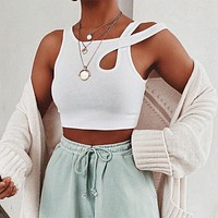 White Knit Slim Tank Top Cotton Fitness Cut Out Gym Workout Sexy Crop Top Women Basic Casual Cropped Tops