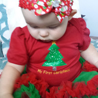 Baby Christmast Outfit, Baby tutu outfit, my first christmas, Red and Green tutu