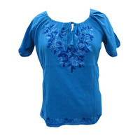 Mogulinterior Royal Blue Cotton Top Embroidered Summer Blouse Tunic