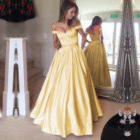 off shoulder satin ball gowns prom dress beaded sashes