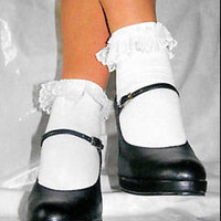 New Cute White Burlesque Lolita Lace Frilled Ruffle Ankle Socks By Leg Avenue