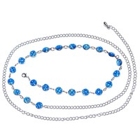 Blue Gem Glamour and Glitz Adjustable Belly Chain