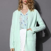 Basic Pocket Knitted Cardigan in Mint Green S/M