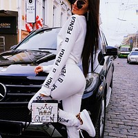 Fendi Autumn And Winter Fashion New Letter String Mark Print Long Sleeve Top Coat And Pants Two Piece Suit Women White