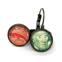 Vintage Postage Stamp Earrings Red and Green Washington Franklin Tiny Brass Leverbacks