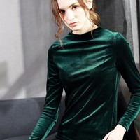 Velour T Shirt Plus Size Women 2018 Autumn Winter New Fashion Female Long Sleeve Turtleneck Velvet Slim Elegant Tops T-shirts