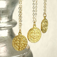 Small Gold Coin Pendant Necklace, Gold Coin, Tiny Gold Coin Pendant Necklace, St. Benedict, Catholic, Minimalist, Gold Cross