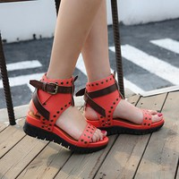 Women Open Toe Rivet Platform Ankle Buckle Sandals