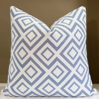 Purple Pillow Cover - Geometric Periwinkle and white pillow cover - Modern pillow cover - Select your size at checkout