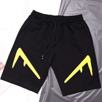 Fendi New Fashion Summer Letter Print Couple High Quality Sports Leisure Shorts Black