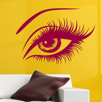 Eyelashes Wall Decal, Big Eye Decal, Eyes and Brows Decal, Beauty Salon Decor, Eyelashes Extensions Decal, Fashion Decal, Trending Art nm083