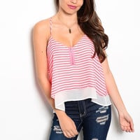 Layered Striped Chiffon Top in Neon Pink and White