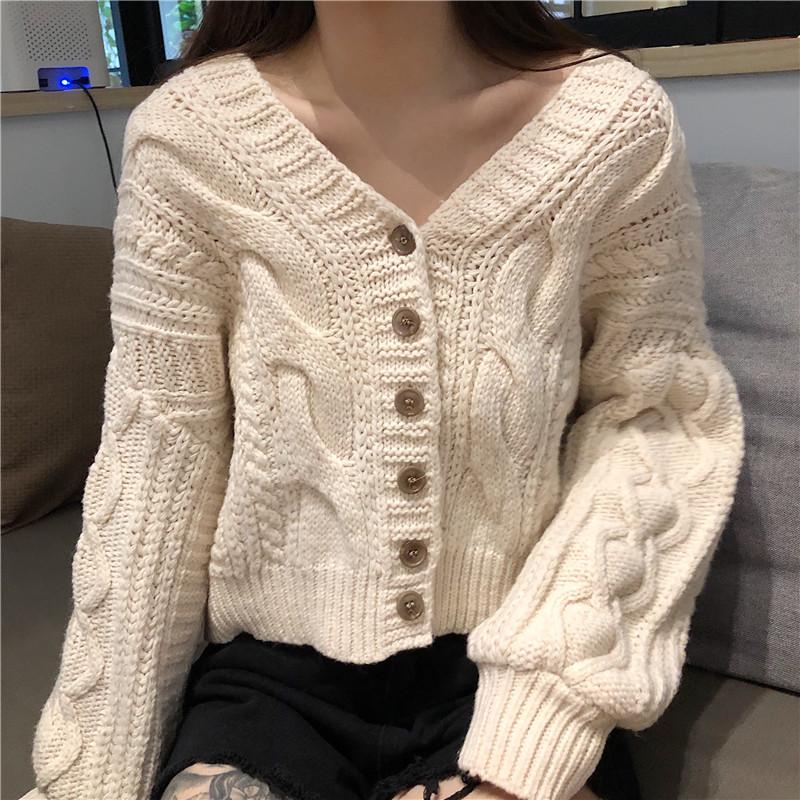Image of Knit Sweaters Elbow Patches Buttons Cardigan Jacket Coat Knitwear