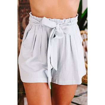 Ready To Mingle Gauze Textured Paperbag Shorts (Cloud)