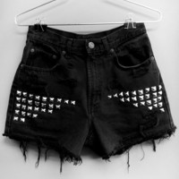 Black High Waisted jean shorts w/ silver rhinestuds