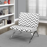 "Grey "" Chevron "" Fabric / Chrome Metal Accent Chair"