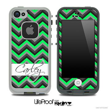Name Script Black and Lime Green Chevron V4 Skin for the iPhone 5 or 4/4s LifeProof Case