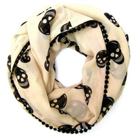 Skull Scarf Infinity Scarf Teen Fashion Scarf Trendy Fashion Scarf Hipster Scarf Tan Black Skulls Cute Teen Gift Ready to Ship