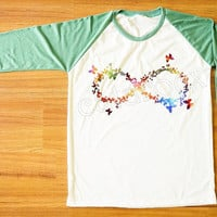 Galaxy Infinity Butterfly Shirt Infinity Shirt Shirt One Direction T-Shirt Green Sleeve Tee Shirt Women Shirt Men Shirt Baseball Shirt S,M,L