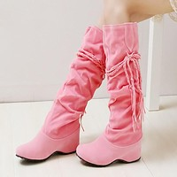 Knee High Boots Wedges Tassel Women Shoes