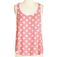 ModCloth Mid-length Sleeveless I Dot as Much! Top in Coral