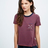 Truly Madly Deeply Stitched Icons Stripe Tee in Red and Navy - Urban Outfitters