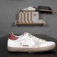 GOLDEN GOOSE GGDB Superstar Red Glitter Coated Heel Tab White Leather Sneakers - Best Deal Online