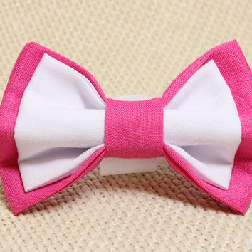 Medium Size Pink and White Dog Bowtie. Hot Pink and White Cotton Bow Tie for Puppies. Smart Dressed Pup for Wedding or Party. Velcro Attach