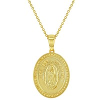 """18k Gold Plated Lady of Guadalupe Virgin Mary Catholic Medal Oval Necklace 19"""""""