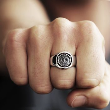 Mens Ring Silver Carpe Diem Signet Coin Rings Personalized Jewelry