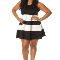 Plus Size Stripe Skater Dress