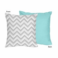 Zig Zag Chevron Turquoise and Gray Decorative Accent Throw Pillow