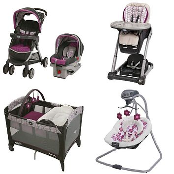Graco Purple Baby Gear Bundle, Stroller Travel System, Play Yard, Swing, and High Chair