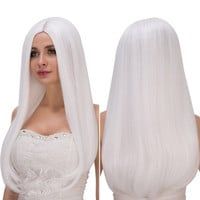 Long Middle Part White Straight Tail Adduction Fashion Cosplay Lolita Synthetic Wig For Women