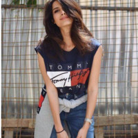Letters Printed Causal T-Shirt B0014275